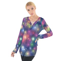 Starlight Shiny Glitter Stars Women s Tie Up Tee