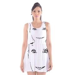 Portrait Black And White Girl Scoop Neck Skater Dress