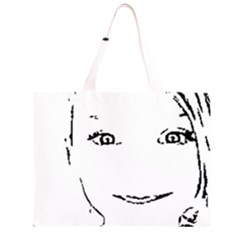 Portrait Black And White Girl Large Tote Bag