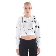 Portrait Black And White Girl Women s Cropped Sweatshirt