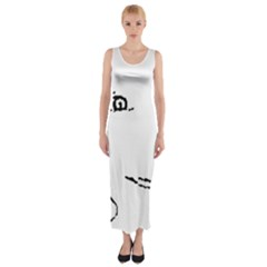 Portrait Black And White Girl Fitted Maxi Dress