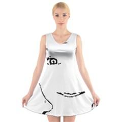 Portrait Black And White Girl V-Neck Sleeveless Skater Dress