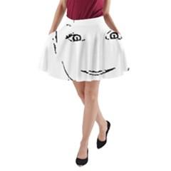 Portrait Black And White Girl A-Line Pocket Skirt