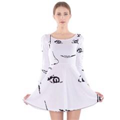 Portrait Black And White Girl Long Sleeve Velvet Skater Dress