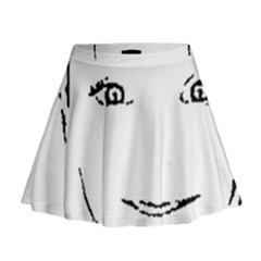 Portrait Black And White Girl Mini Flare Skirt