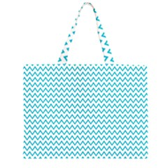 Blue White Chevron Zipper Large Tote Bag