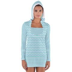 Blue White Chevron Women s Long Sleeve Hooded T-shirt