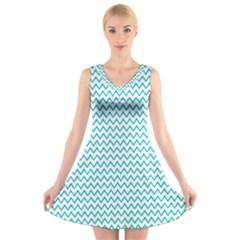 Blue White Chevron V-Neck Sleeveless Skater Dress