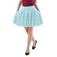 Blue White Chevron A-Line Pocket Skirt