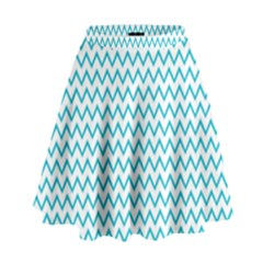 Blue White Chevron High Waist Skirt