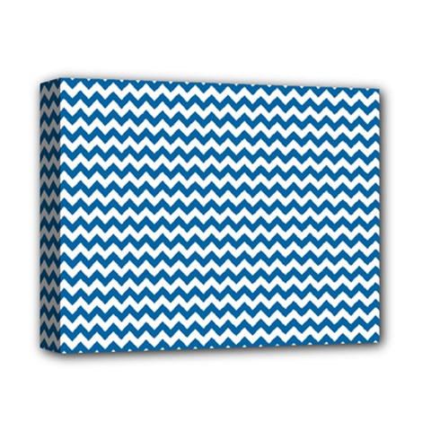 Dark Blue White Chevron  Deluxe Canvas 14  x 11