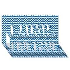Dark Blue White Chevron  Laugh Live Love 3d Greeting Card (8x4)