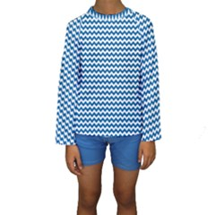 Dark Blue White Chevron  Kid s Long Sleeve Swimwear