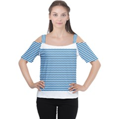Dark Blue White Chevron  Women s Cutout Shoulder Tee