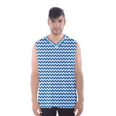 Dark Blue White Chevron  Men s Basketball Tank Top