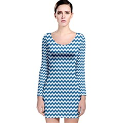 Dark Blue White Chevron  Long Sleeve Velvet Bodycon Dress