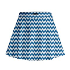 Dark Blue White Chevron  Mini Flare Skirt