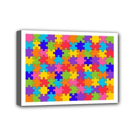 Funny Colorful Puzzle Pieces Mini Canvas 7  x 5