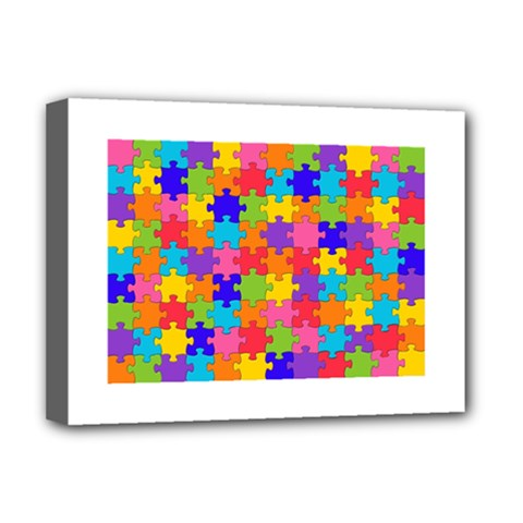 Funny Colorful Puzzle Pieces Deluxe Canvas 16  x 12