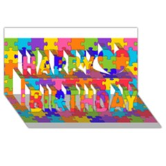 Funny Colorful Puzzle Pieces Happy Birthday 3D Greeting Card (8x4)