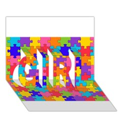 Funny Colorful Puzzle Pieces GIRL 3D Greeting Card (7x5)