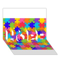 Funny Colorful Puzzle Pieces HOPE 3D Greeting Card (7x5)