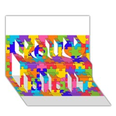 Funny Colorful Puzzle Pieces You Did It 3d Greeting Card (7x5)
