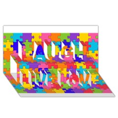 Funny Colorful Puzzle Pieces Laugh Live Love 3d Greeting Card (8x4)