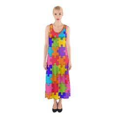Funny Colorful Puzzle Pieces Full Print Maxi Dress