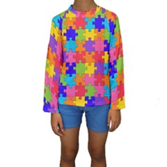 Funny Colorful Puzzle Pieces Kid s Long Sleeve Swimwear
