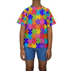 Funny Colorful Puzzle Pieces Kid s Short Sleeve Swimwear