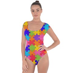 Funny Colorful Puzzle Pieces Short Sleeve Leotard (Ladies)