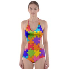 Funny Colorful Puzzle Pieces Cut-Out One Piece Swimsuit