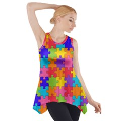 Funny Colorful Puzzle Pieces Side Drop Tank Tunic