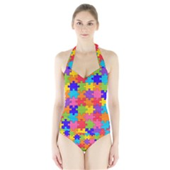 Funny Colorful Puzzle Pieces Women s Halter One Piece Swimsuit