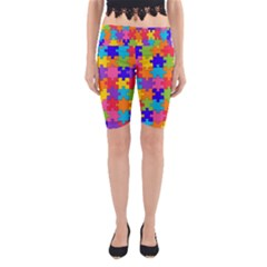 Funny Colorful Puzzle Pieces Yoga Cropped Leggings