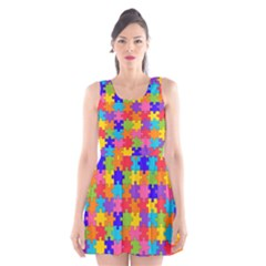 Funny Colorful Puzzle Pieces Scoop Neck Skater Dress
