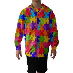 Funny Colorful Puzzle Pieces Hooded Wind Breaker (kids)