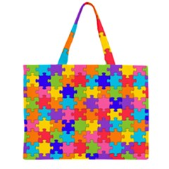 Funny Colorful Puzzle Pieces Large Tote Bag