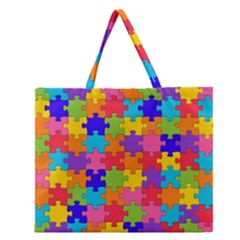 Funny Colorful Puzzle Pieces Zipper Large Tote Bag