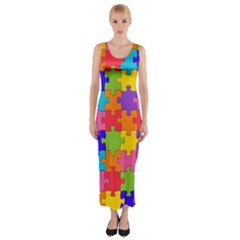 Funny Colorful Puzzle Pieces Fitted Maxi Dress