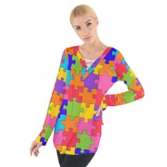 Funny Colorful Puzzle Pieces Women s Tie Up Tee