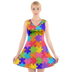Funny Colorful Puzzle Pieces V Neck Sleeveless Skater Dress