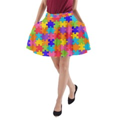 Funny Colorful Puzzle Pieces A-Line Pocket Skirt
