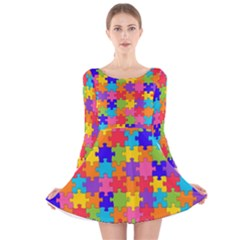 Funny Colorful Puzzle Pieces Long Sleeve Velvet Skater Dress