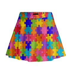 Funny Colorful Puzzle Pieces Mini Flare Skirt