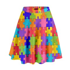 Funny Colorful Puzzle Pieces High Waist Skirt