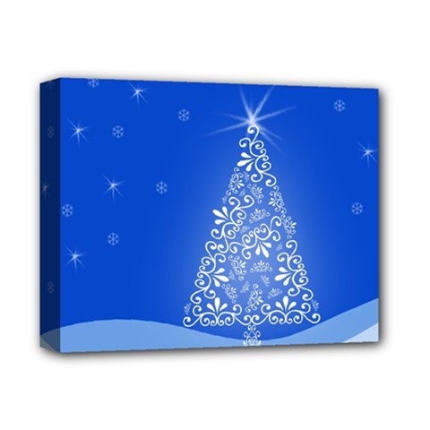 Blue White Christmas Tree Deluxe Canvas 14  x 11