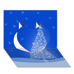 Blue White Christmas Tree Heart 3d Greeting Card (7x5)