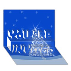 Blue White Christmas Tree YOU ARE INVITED 3D Greeting Card (7x5)
